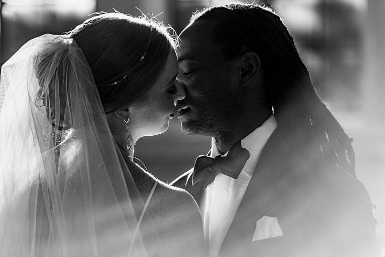 Intimate Black and White Wedding Photo-